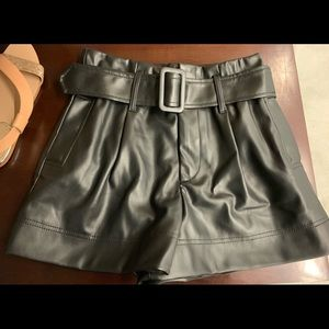 Zara Black Faux Leather Belted Shorts